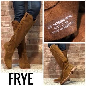 Frye Cara suede tall pull-on boots cognac color